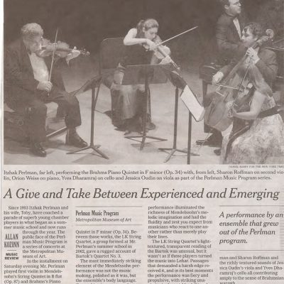 NY Times Review with Itzhak Perlman