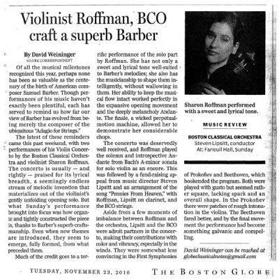 Boston Globe, November 23, 2010